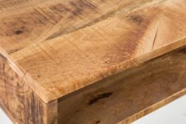 Massief bureau SCORPION met haarspeldpoot van 100 cm natuurlijk mangohout