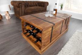 Massief houten salontafel BODEGA 100 cm Sheesham steen Home barkast