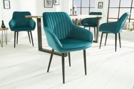 Edele fauteuil TURIN turkoois fluweel met sierstiksels