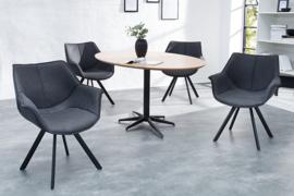 Design stoel THE DUTCH RETRO antiek grijs met armleuningen set van 2