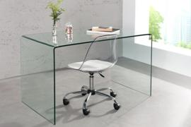 Extravagante glazen eettafel FANTOME 120 cm transparant bureau volledig glazen tafel