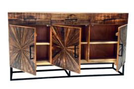 Massief dressoir WOOD ART 160 cm mangohout in industriële stijl