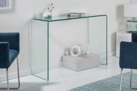 Extravagante glazen consoletafel FANTOME 100 cm transparant bureau volledig glazen tafel