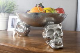 Ontwerp fruitschaal SKULL 35 cm zilveren aluminium schedelschaal