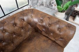 Chesterfield 2-zits bank 150 cm antiek bruin met knoopsluiting en veerkern