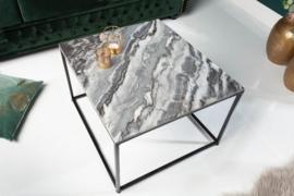 Elegante salontafel ELEMENTS 50 cm grijs met een gepolijst marmeren blad