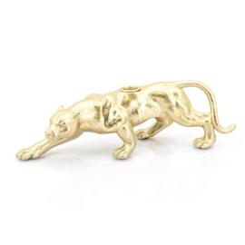 Kaarshouder Raja Panter - Goud Polyresin 32cm
