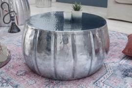 Handgemaakte salontafel MARRAKESCH 65 cm zilver met gehamerd design