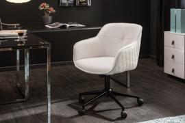 In hoogte verstelbare bureaustoel EUPHORIA wit met sierstiksels