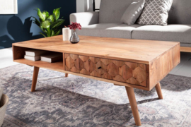 Massieve salontafel MYSTIC LIVING 117 cm natuurlijk acacia 3D-oppervlak massief hout