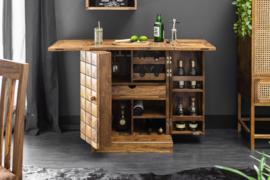 Handgemaakte barkast MOSAICO 130 cm Sheesham houtsteen afwerking 3D-effect
