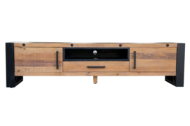 Massief tv-lowboard THOR 200 cm grenenhout in industrieel design