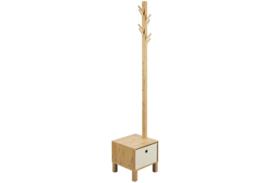 Staande kapstok  Rönne, massief bamboe, incl. Stoffen lade  178cm