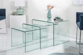 Glazen Salontafel met bijzettafels set van 3 model Fantome