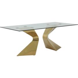 Eettafel Gloria Goud met Glas 200x100cm