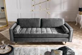 Elegante design 3-zitsbank COSY VELVET 225 cm grijs fluweel stof