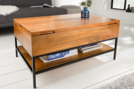 Industriële salontafel  80 cm mangohout met scharnierend blad