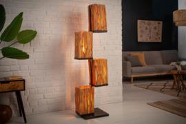 Handgemaakte vloerlamp EUPHORIA 154cm lang hout met vier kappen