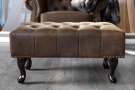 Hocker Model: Chesterfield - Antiek bruin (suede look)