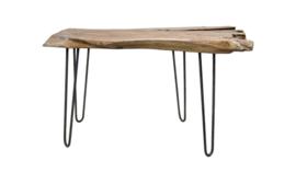 Massiefhout consoletafel WILD 120 cm teak boomschijf Haarspeldpoten
