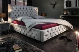 Elegant tweepersoonsbed PARIS 160x200cm grijs fluweel Chesterfield design