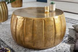 Handgemaakte salontafel MARRAKESCH 65 cm goud met gehamerd design