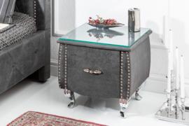 Elegant nachtkastje EXTRAVAGANCIA 47 cm antiek grijs nachtkastje met lade