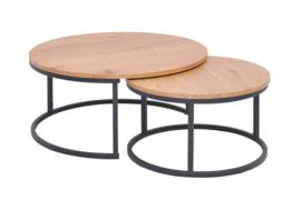Design industriële stijl salontafel set van 2 80 cm eiken look
