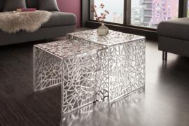 Handgemaakte salontafel ABSTRACT 49 cm set van 2 zilver in gap-design