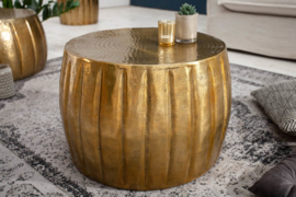 Handgemaakte salontafel MARRAKESCH 55 cm goud met gehamerd design