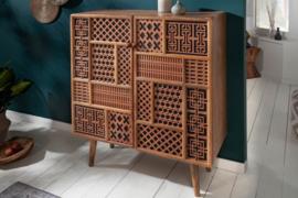 Massief dressoir MARRAKESCH 100 cm mangohout met decoratie in boho-stijl