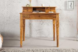 Elegante secretaresse HEMINGWAY M 90 cm Sheesham massief houten bureau