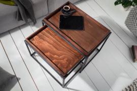 Set van 2 industriële salontafels ELEMENTS 60 cm mokka beuken verwijderbaar blad