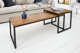 Set van 2 design salontafels ELEMENTS 100 cm metalen frame met sheeshamsteen afwerking
