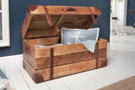 Salontafel Box massief mangohout met opbergruimte 82 cm