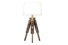 Tafellamp  Industriële  Retro 59 cm wit grenen houten