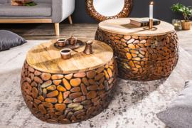 Set van 2 salontafels STONE MOSAIC 65cm koper acaciahout handgemaakte mozaïek look