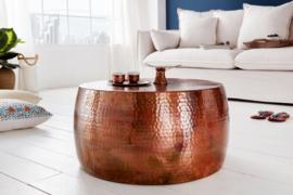 Handgemaakte salontafel ORIENT III 60cm koper gevlamd hamerslag design