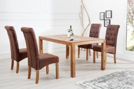 Nobele koloniale stoel VALENTINO met nekrol whiskybruin Vintage look met decoratieve knopen massief houten poten Sheesham-afwerking