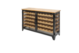 Industriële wijnkast BODEGA 127 cm naturel grenen wijnrek voor 55 flessen