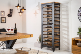 Industriële wijnkast BODEGA 184 cm naturel grenen wijnrek voor 72 flessen