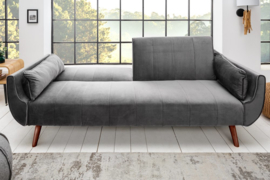 Design Schlafsofa DIVANI 215cm silbergrau Samt Bettfunktion 3er Sofa Retro Design