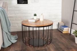 Industriële salontafel LOFT 56 cm natuurlijk massief mangohout