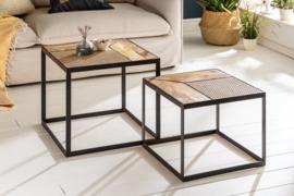 Set van 2 industriële salontafels VIENNA LOUNGE mangohout 50 cm met vlechtwerk