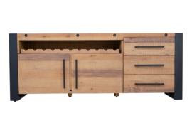 Massief dressoir THOR 195 cm grenen hout industrieel design met flessenhouder