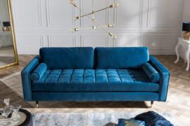 Elegante design 3-zitsbank COSY VELVET 225 cm aqua fluweel stof