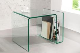 Extravagante glazen salontafel FANTOME 50 cm bijzettafel met opbergvak voor tijdschriften transparant