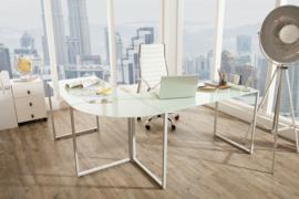 Exclusief design hoekbureau BIG DEAL 180 cm mat wit glas
