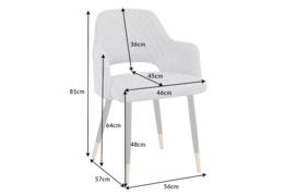 Elegante stoel PARIS lichtgrijs met sierstiksels en gouden pootdoppen
