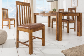 Massieve stoel MAKASSAR Sheesham eetkamerstoel gestoffeerd in koloniale stijl